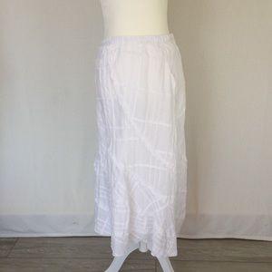 JJill white ramie/cotton maxi skirt SP